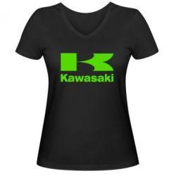 Женская футболка с V-образным вырезом Kawasaki - FatLine