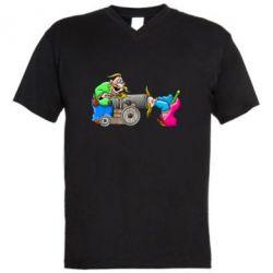 Мужская футболка  с V-образным вырезом Казаки и пушка