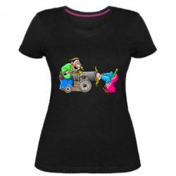 Женская стрейчевая футболка Казаки и пушка