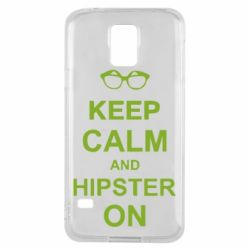 Чехол для Samsung S5 Keep calm an hipster on