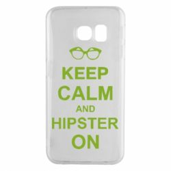 Чехол для Samsung S6 EDGE Keep calm an hipster on