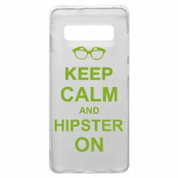 Чехол для Samsung S10+ Keep calm an hipster on
