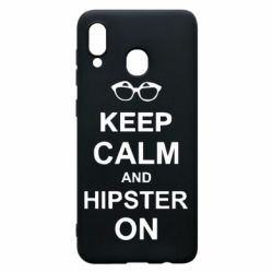 Чехол для Samsung A20 Keep calm an hipster on
