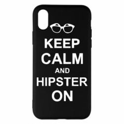 Чехол для iPhone X/Xs Keep calm an hipster on
