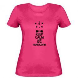 Женская футболка Keep calm and be a pandicorn