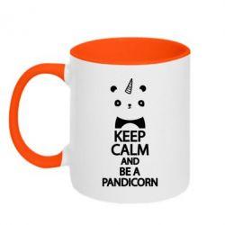 Кружка двухцветная Keep calm and be a pandicorn