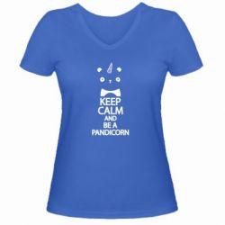 Женская футболка с V-образным вырезом Keep calm and be a pandicorn