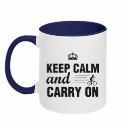 Кружка двоколірна 320ml Keep calm and carry on text
