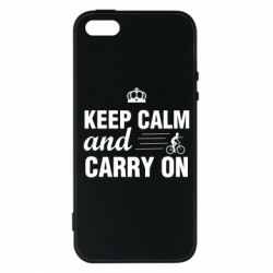 Чохол для iphone 5/5S/SE Keep calm and carry on text
