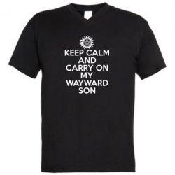 Мужская футболка  с V-образным вырезом Keep Calm and carry on