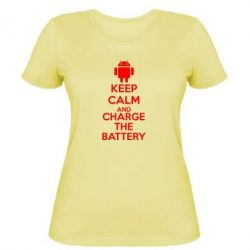 Женская футболка KEEP CALM and CHARGE BATTERY - FatLine
