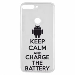 Чехол для Huawei Y7 Prime 2018 KEEP CALM and CHARGE BATTERY - FatLine