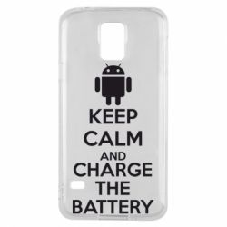 Чехол для Samsung S5 KEEP CALM and CHARGE BATTERY - FatLine