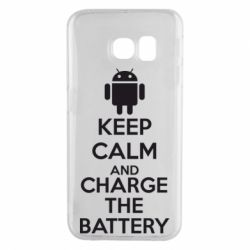 Чехол для Samsung S6 EDGE KEEP CALM and CHARGE BATTERY - FatLine