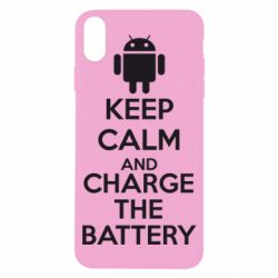 Чехол для iPhone X KEEP CALM and CHARGE BATTERY - FatLine
