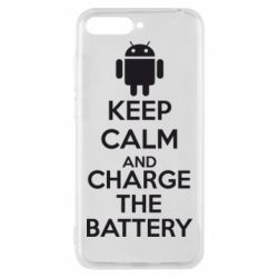 Чехол для Huawei Y6 2018 KEEP CALM and CHARGE BATTERY - FatLine