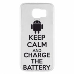 Чехол для Samsung S6 KEEP CALM and CHARGE BATTERY - FatLine