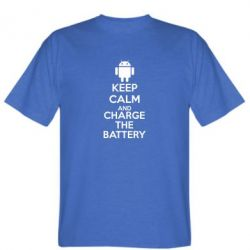 Мужская футболка KEEP CALM and CHARGE BATTERY - FatLine