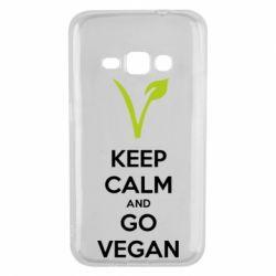 Чехол для Samsung J1 2016 Keep calm and go vegan