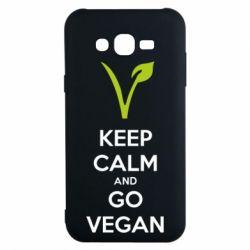 Чехол для Samsung J7 2015 Keep calm and go vegan