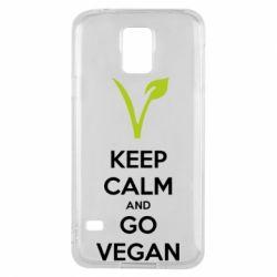 Чехол для Samsung S5 Keep calm and go vegan