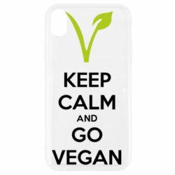 Чехол для iPhone XR Keep calm and go vegan