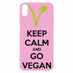 Чехол для iPhone Xs Max Keep calm and go vegan
