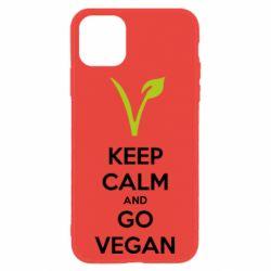 Чехол для iPhone 11 Keep calm and go vegan