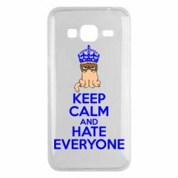 Чехол для Samsung J3 2016 KEEP CALM and HATE EVERYONE - FatLine