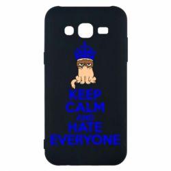 Чехол для Samsung J5 2015 KEEP CALM and HATE EVERYONE - FatLine