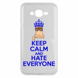 Чехол для Samsung J7 2015 KEEP CALM and HATE EVERYONE - FatLine