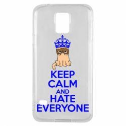 Чехол для Samsung S5 KEEP CALM and HATE EVERYONE - FatLine