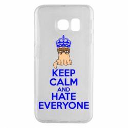 Чехол для Samsung S6 EDGE KEEP CALM and HATE EVERYONE - FatLine