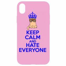 Чехол для iPhone XR KEEP CALM and HATE EVERYONE - FatLine