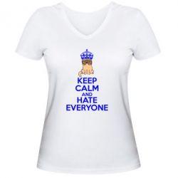 Женская футболка с V-образным вырезом KEEP CALM and HATE EVERYONE - FatLine