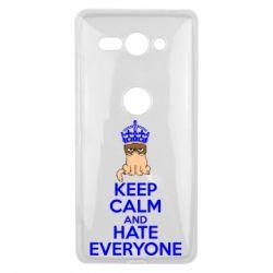 Чехол для Sony Xperia XZ2 Compact KEEP CALM and HATE EVERYONE - FatLine