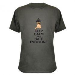 Камуфляжная футболка KEEP CALM and HATE EVERYONE - FatLine