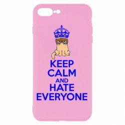 Чехол для iPhone 8 Plus KEEP CALM and HATE EVERYONE - FatLine