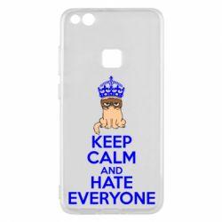 Чехол для Huawei P10 Lite KEEP CALM and HATE EVERYONE - FatLine