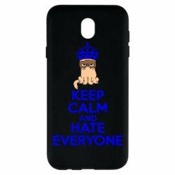 Чехол для Samsung J7 2017 KEEP CALM and HATE EVERYONE - FatLine