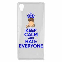 Чехол для Sony Xperia X KEEP CALM and HATE EVERYONE - FatLine