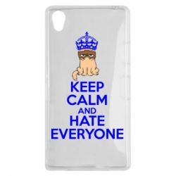 Чехол для Sony Xperia Z1 KEEP CALM and HATE EVERYONE - FatLine