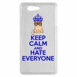 Чехол для Sony Xperia Z3 mini KEEP CALM and HATE EVERYONE - FatLine