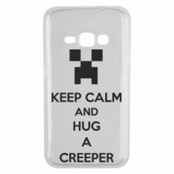 Чехол для Samsung J1 2016 KEEP CALM and HUG A CREEPER