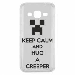 Чехол для Samsung J2 2015 KEEP CALM and HUG A CREEPER