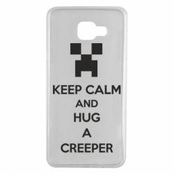 Чехол для Samsung A7 2016 KEEP CALM and HUG A CREEPER