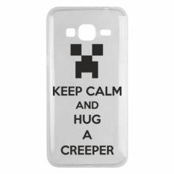 Чехол для Samsung J3 2016 KEEP CALM and HUG A CREEPER