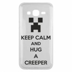 Чехол для Samsung J5 2015 KEEP CALM and HUG A CREEPER