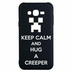 Чехол для Samsung J7 2015 KEEP CALM and HUG A CREEPER