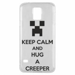 Чехол для Samsung S5 KEEP CALM and HUG A CREEPER